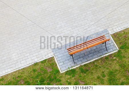 Empty Wooden Bench Stands In Park, Top View