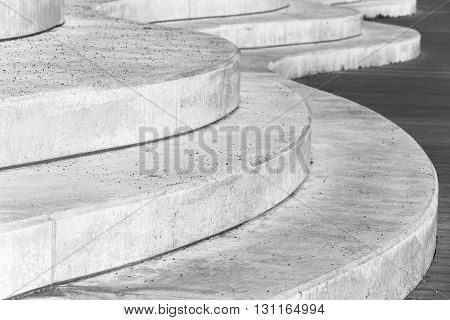 Abstract Concrete Interior, Curved Stairs