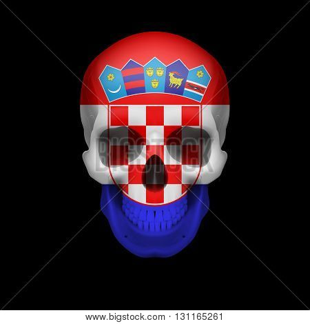Human skull with flag of Croatia. Threat to national security war or dying out