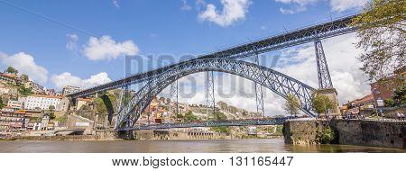 PORTO, PORTUGAL - APRIL 21, 2016: Panorama of bridge Ponte Luis I and skyline of Porto, Portugal