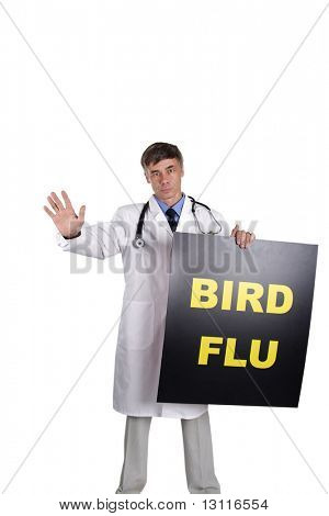 Portrait of senior doctor with warning table. Isolated with clipping path. Your can change inscription.