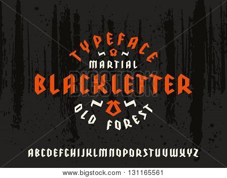 Sanserif font in black letter style. Gothic typeface on forest texture background