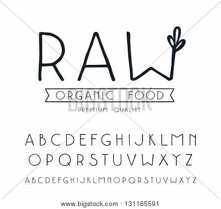 Sanserif font with hand-drawn soft shape. Raw vegan label. Isolated on white background