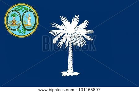 Flag of South Carolina is a state in the southeastern region of the United States.