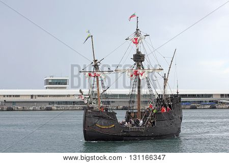 FUNCHAL ISLAND OF MADEIRA PORTUGAL - 2016 APRIL - Replica of the Santa Maria of Columbus the flagship of the first voyage of Christopher Columbus in 1492 when he discovered America