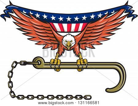 Illustration of an american bald eagle flying clutching towing j hook with its talon viewed from front with usa american stars and stripes flag in its wings set on isolated white background done in retro style.