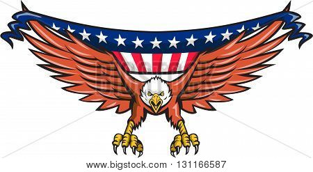 Illustration of an american bald eagle flying swooping viewed from front with usa american stars and stripes flag in its wings set on isolated white background done in retro style.
