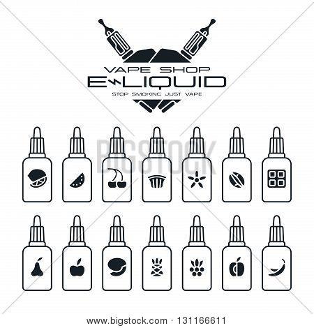 Vape Shop E-liquid Flavors Icons Set