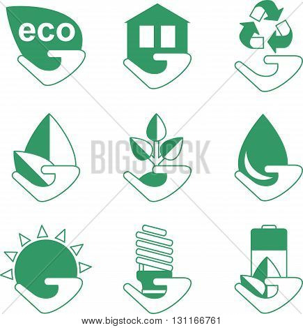 Set Of Ecology Icons With Hand