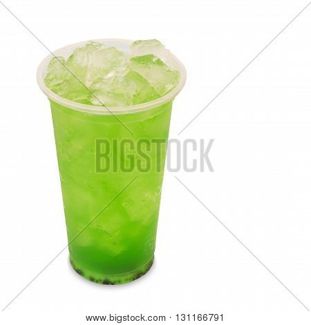 ice green tea with kiwi fruit in takeaway glass isolated on white background with clipping path