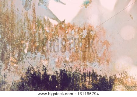Background with colorful spots and scratches closeup