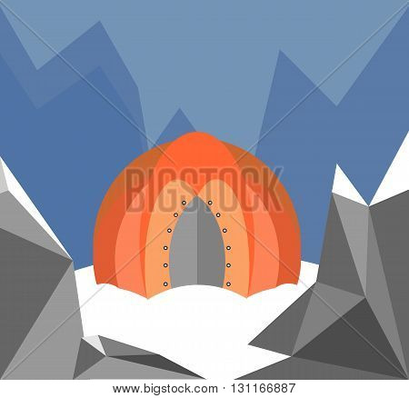 The tent is in the mountains. The mountains are snow. Hikers in the winter living in a tent. It's frosty outside. High blue mountains. In the winter cold. Cartoon flat vector illustration.