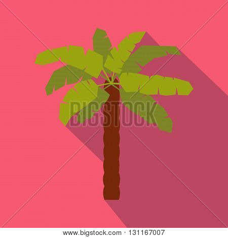 Green palm icon in flat style on a pink background