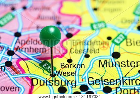 Wesel pinned on a map of Germany