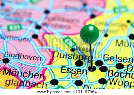 Essen pinned on a map of Germany