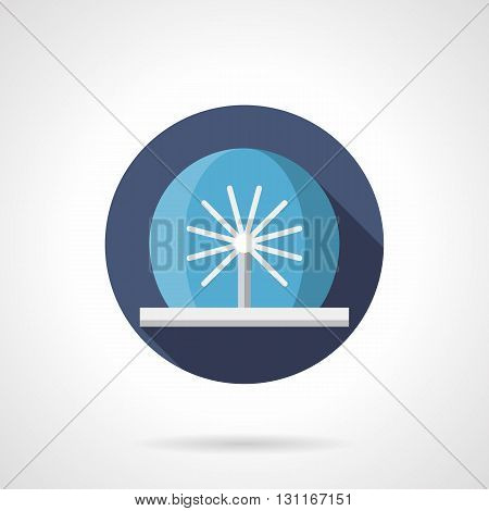 Round fountain with radial pipes. Decoration in city parks, summer freshness in gardens. Modern water show. Round flat color style vector icon.