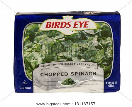 RIVER FALLS,WISCONSIN-MAY 24,2016: A bag of frozen chopped spinach by Birds Eye.