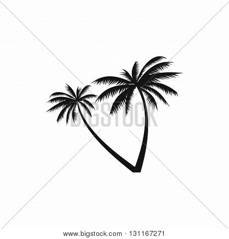 Two coconut palm trees icon in simple style on a white background