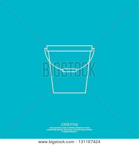 Vector icon bucket. container for water, sand, paint. Simple linear icon. Thin line. Bucket for washing and cleaning