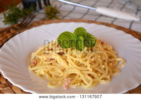 Bowl of delicious Italian spaghetti Carbonara. Italian food.