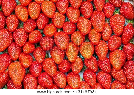 Background of red strawberries seen at a market