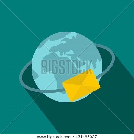 Blue Earth with envelope icon in flat style on a blue background
