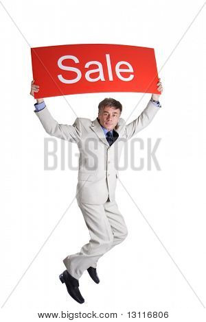 Portrait of a middle age businessman. Shot in studio. Best idea for ad sale. Isolated with clipping path.