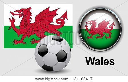 Wales flag icons with soccer ball, vector design.