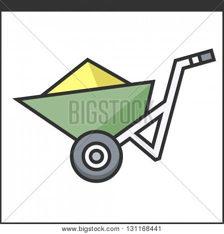 Garden wheelbarrow icon. Vector illustration of hand tool for gardeners