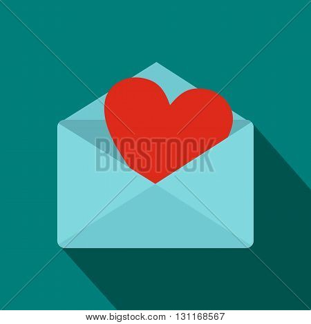 Blue envelope with red heart icon in flat style on a blue background