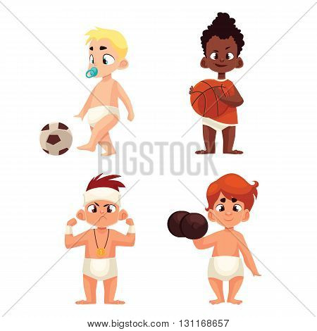 baby in diapers playing sports, vector illustration comic cartoon isolated on a white background, a group of kids play sports football basketball, serious kid winner and dumbbell