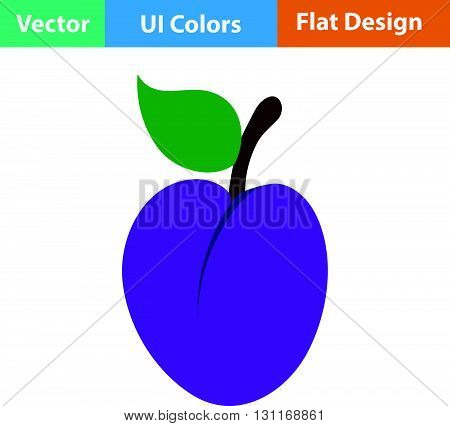 Flat Design Icon Of Plum
