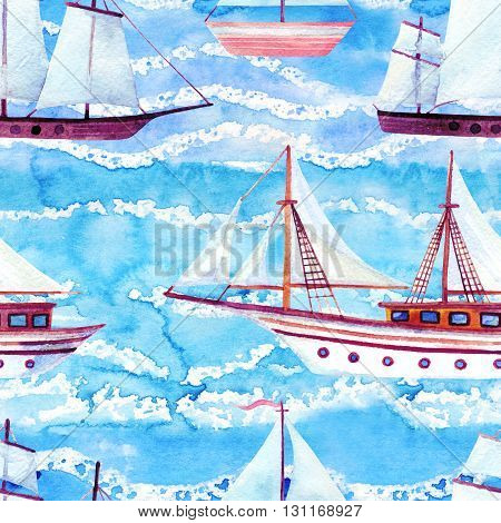 Watercolor sailing ships seamless pattern on blue waved background. Hand painted marine transport illustration. Travel cruise pattern with white sailing yacht in row