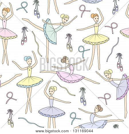 Seamless pattern with dancing ballerinas on a white background. Vector childs drawing ballerinas