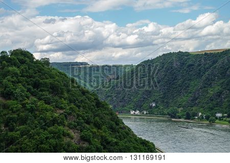 View to Rhine and Burg Maus Castle St. Goarshausen Rhineland-Palatinate Germany
