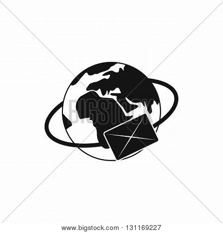 Earth with envelope icon in simple style on a white background