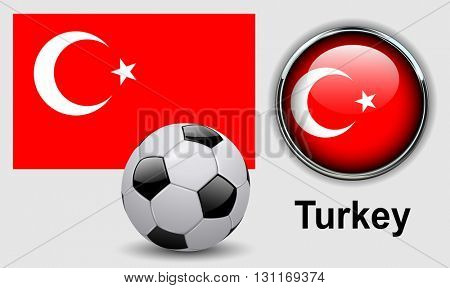 Turkey flag icons with soccer ball, vector design.
