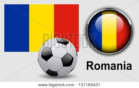 Romania flag icons with soccer ball, vector design.