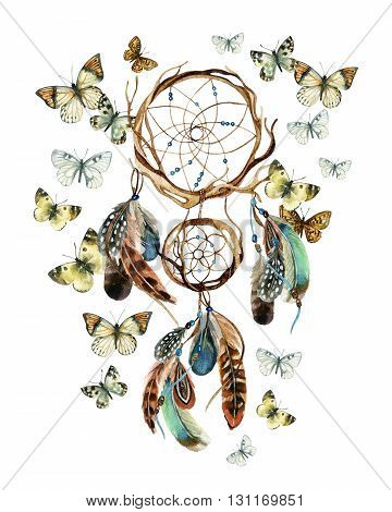 Dreamcatcher with feathers and butterflies. Watercolor ethnic dreamcatcher. Hand painted illustration for your design