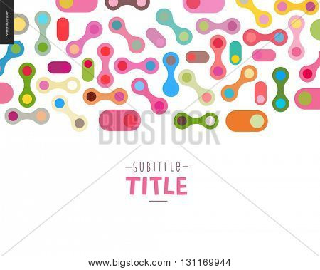 Colorful template design mockup vector banner - rounded colorful shapes isolated on white background accompanied with a title template