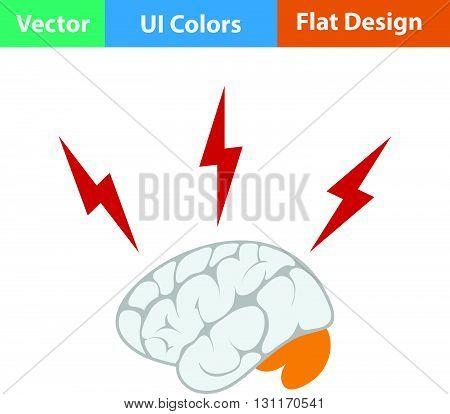 Flat Design Icon Of Brainstorm