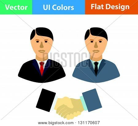 Hand shake icon. Vector illustration. Flat design ui.