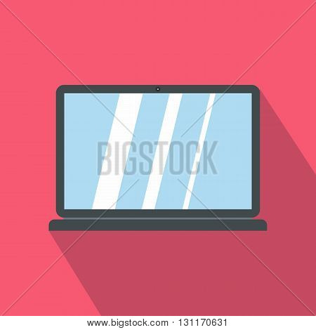 Laptop icon in cartoon style icon in flat style on a pink background