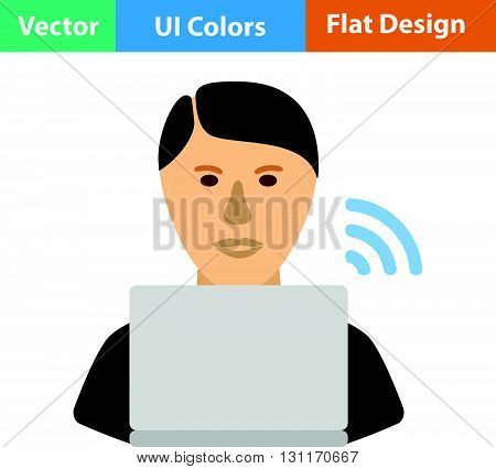 Businessman sitting behind a laptop icon. Vector illustration.