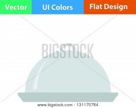 Restaurant cloche icon. Vector illustration. Flat design ui.