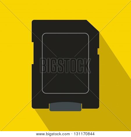 Micro sd card icon in flat style on a yellow background