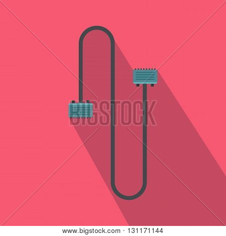 Cable wire computer icon in flat style on a pink background