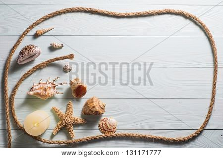 Wooden Background With Starfish, Sea Shells And Marine Rope
