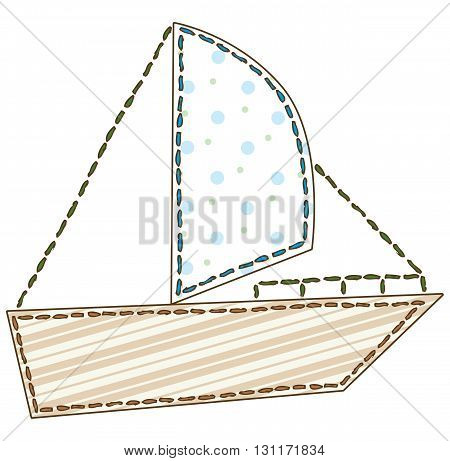 Boat with Sail in Patchwork Style. Isolated on a White Background