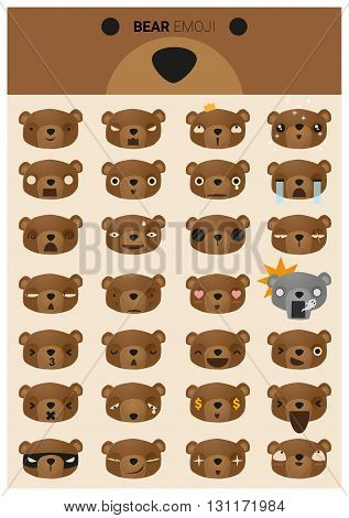 Set of bear emoji icons, vector, illustration